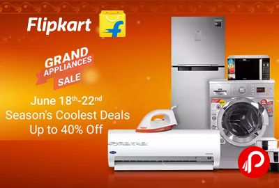 Flipkart brings #GrandApplianceSale and offering Upto 40% off on Seasons Coolest Deals. Extra 10% off on all credit cards, debit cards and netbanking. Till 22nd June.  http://www.paisebachaoindia.com/grand-appliance-sale-seasons-coolest-deals-upto-40-off-10-cards-flipkart/