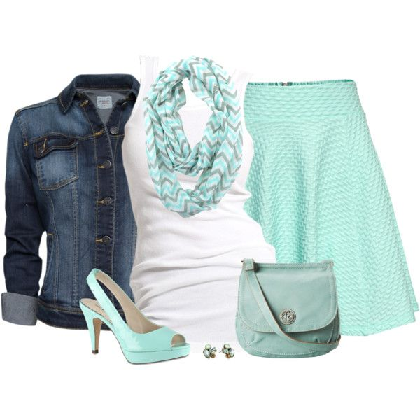 Mint Chevron Infinity Scarf, created by chrissykp on Polyvore