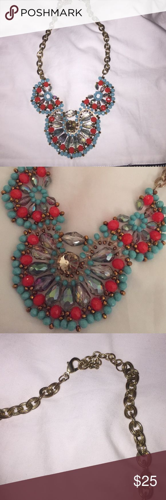 Turquoise and coral statement necklace Adorable statement necklace with gold accents. Only signs of ware on chain (some discoloration and rust towards clasp) but cannot be seen when worn. Easy to throw on to dress up any outfit! Francesca's Collections Jewelry Necklaces