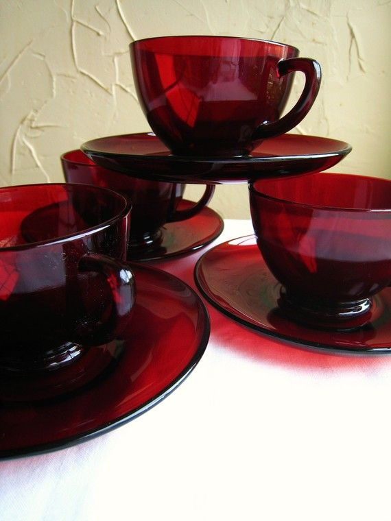 Ruby Red Anchor Hocking Depression Glass (I still have a full set of these my grandmother passed to me.  Now, to get a china cabinet to display them!)