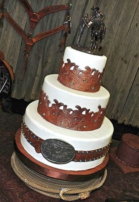 """Edible leather"" trimmed western themed wedding cake."