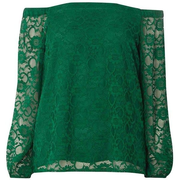 Dorothy Perkins Green Lace Bardot Top ($45) ❤ liked on Polyvore featuring tops, green, green lace top, lacy tops, lace top, dorothy perkins and green top