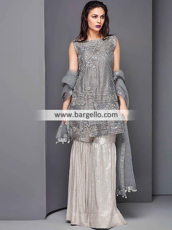 D6675 Trolley Grey Lilium Stani Bridal Lehenga Banarasi Jamawar