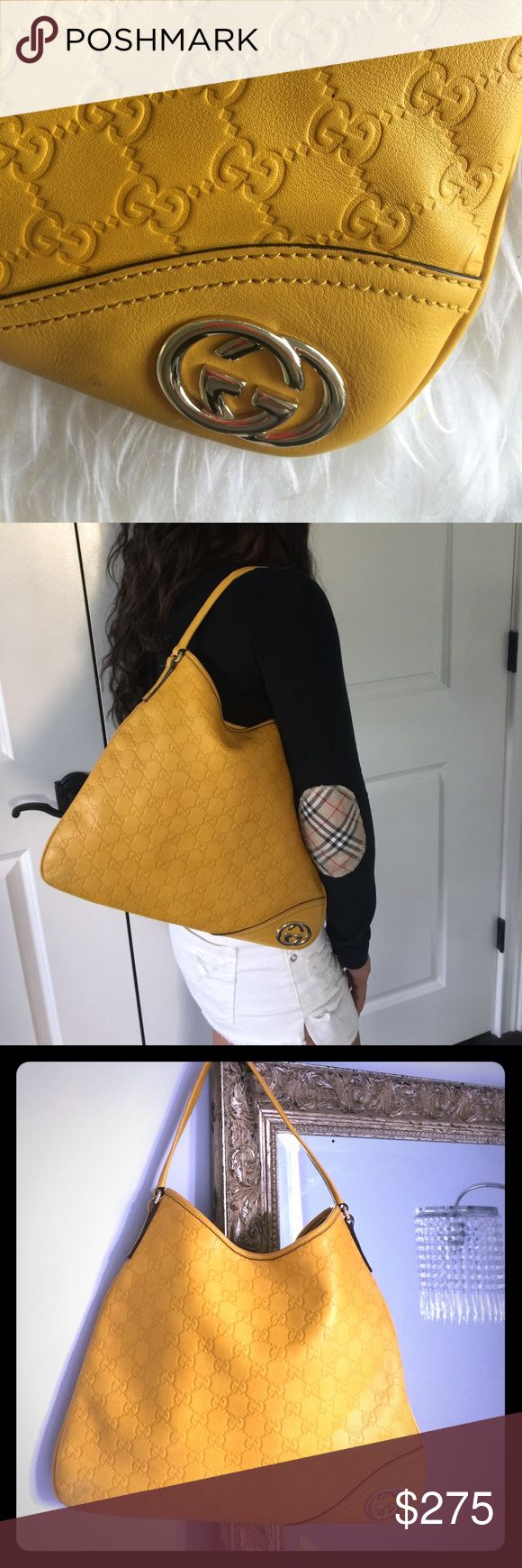 GUCCI LEATHER HOBO BAG 💯 AUTHENTIC Gucci embossed yellow leather hobo bag with snap enclosure.  Not to big not too small. Great bag great condition   💯 AUTHENTIC 💯 AUTHENTIC...AUTHENTIC... Gucci Bags Hobos