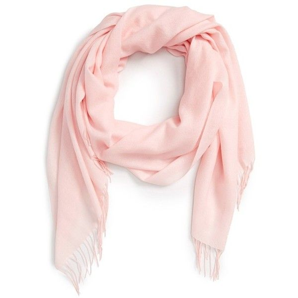 Women's Nordstrom Tissue Weight Wool & Cashmere Scarf ($99) ❤ liked on Polyvore featuring accessories, scarves, pink ballet, cashmere scarves, cashmere wool shawl, cashmere shawl, long scarves and wool shawl