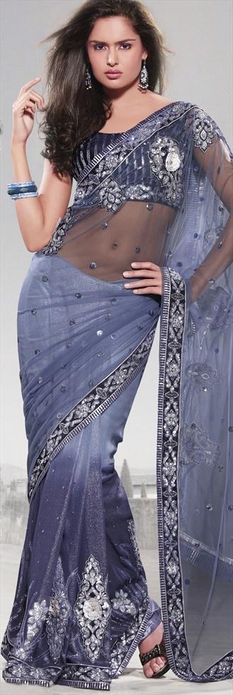 code-64059  Beautiful Indian #Bollywood actress Tabu wore similar #grey #shimmer saree at the recent Marrakech International Film Festival 2012.