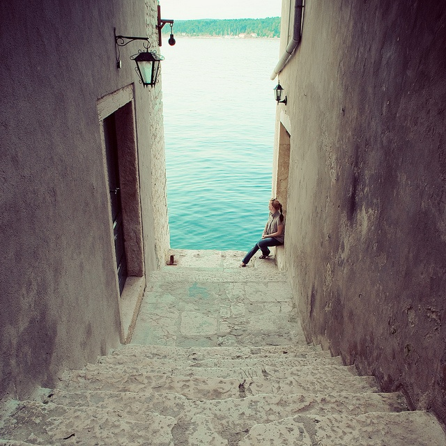 A beautiful stairway in Rovinj, Croatia.
