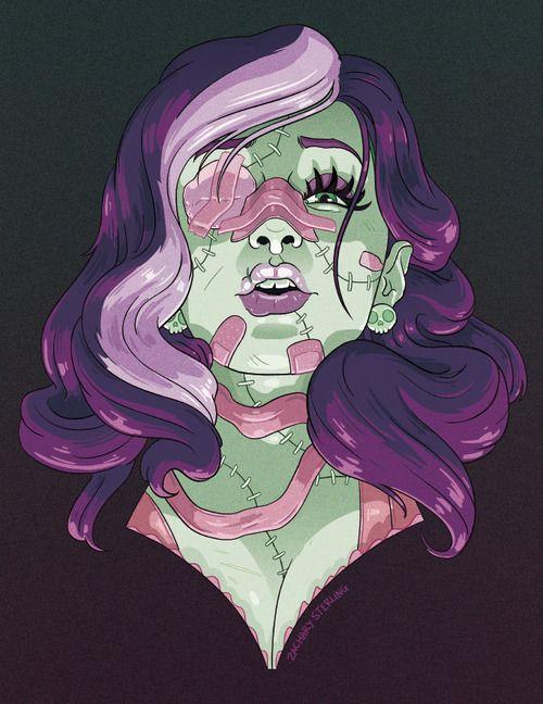 zacharyxbinks: I drew a Frankenstein-y lady!