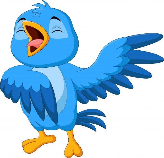 Canto De Passaro Azul Dos Desenhos Animados Sobre Fundo Branco In 2020 Blue Bird Bird Outline Cartoon Birds
