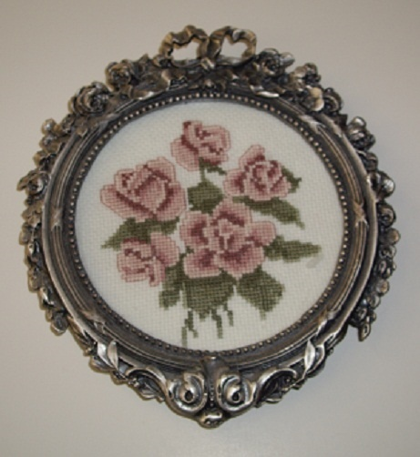 Counted Cross Stich Roses in Round Pewter Rose Frame