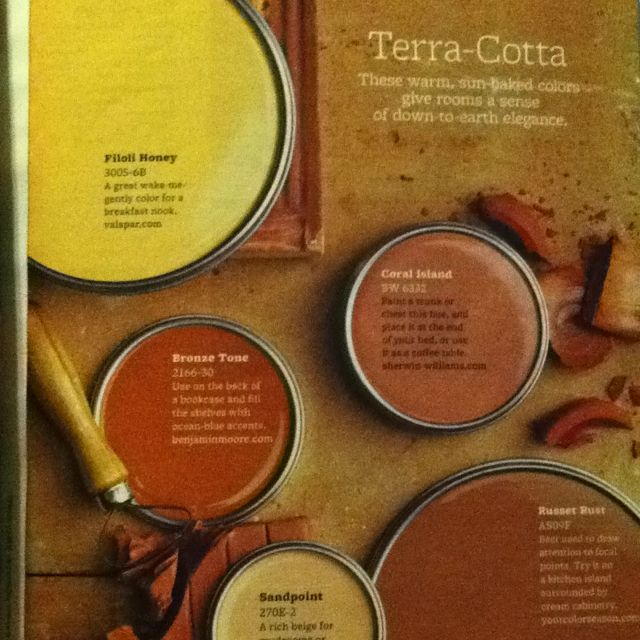 terra cotta colors from better homes and gardens magazine. Black Bedroom Furniture Sets. Home Design Ideas