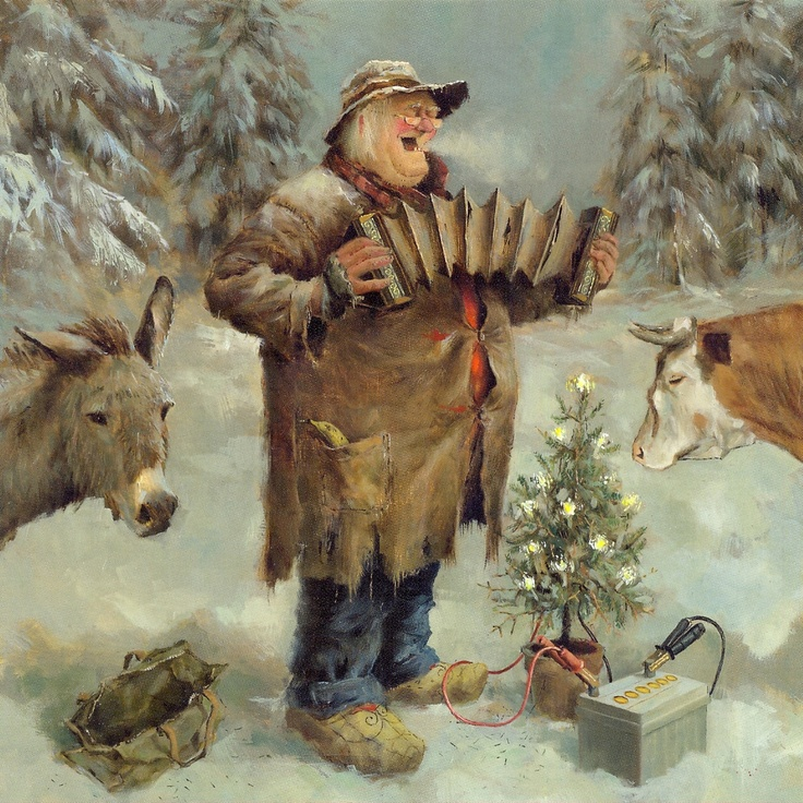 Marius van Dokkum: Old man playing accordion in snowy woods with cow and donkey - small lit up tree