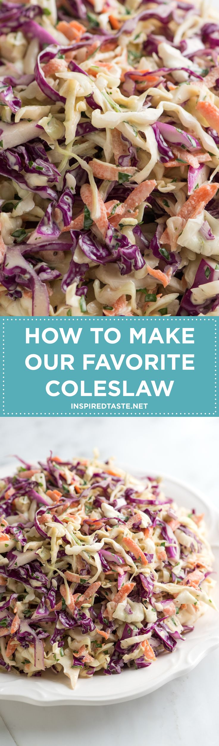 How to make our favorite coleslaw recipe on inspiredtaste.net / @inspiredtaste
