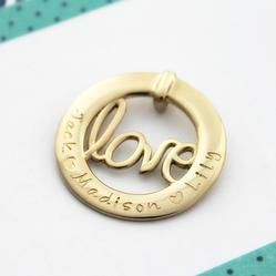 Mrs Fickle's Golden Love  9ct solid gold love pendant  handstamped with children's names hand stamped jewellery custom made personalised jewellery