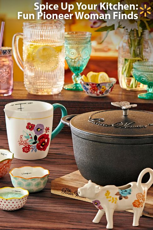 These pieces are just so pretty and fun! Bring colorful energy to your table with the affordable new Pioneer Woman collection. Prepwork is fun with the hand-painted & dishwasher-safe 5-pc measuring set. Cooking stews in the vintage-style speckled 12-quart stockpot just feels right. Refresh in style with the gorgeous Adeline glass pitcher. Wake up with the whimsical cow creamer. Check out Ree's full line ofWalmart-exclusivecookware & tableware in your store and online now.