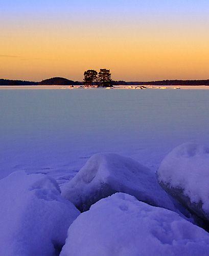 Winter sunset, Emäsalo, Southern Finland