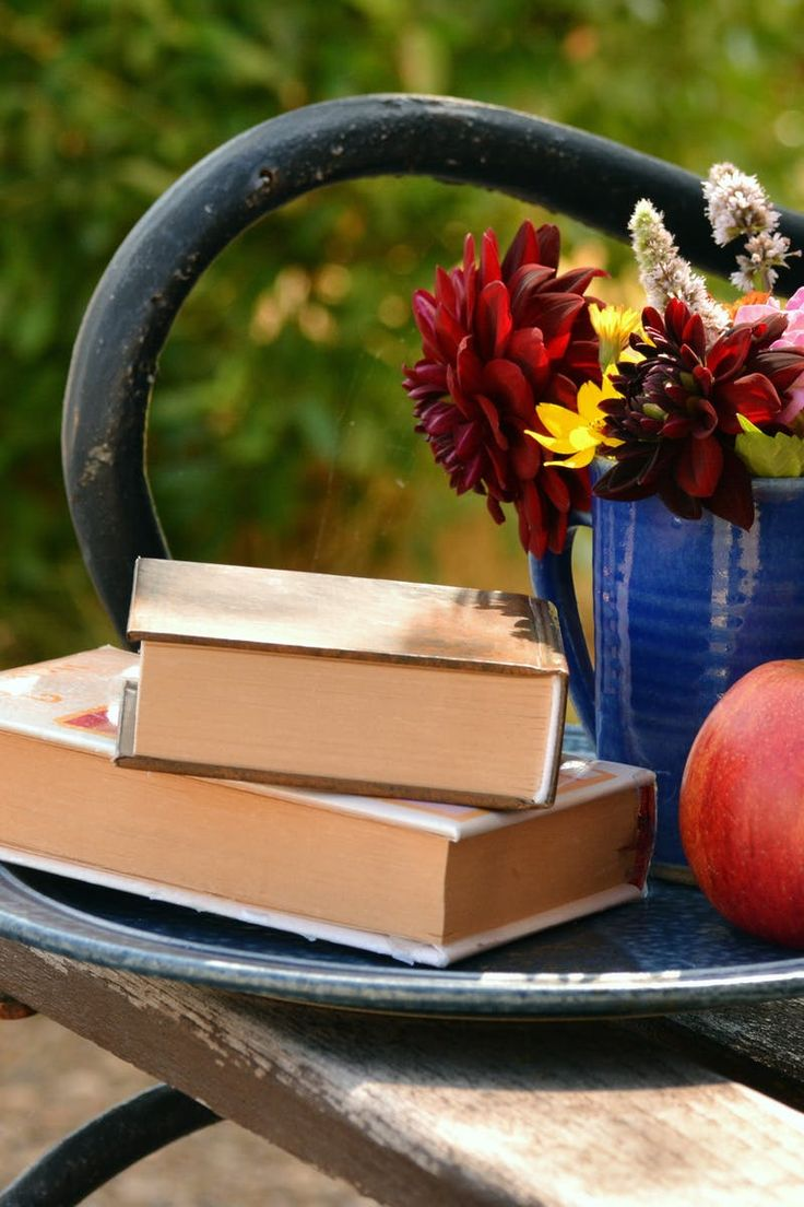 2 Books on Top of Each Other Beside Red Apple Fruit