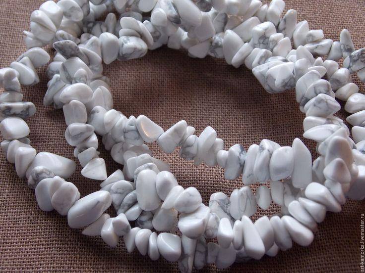 Купить КАХОЛОНГ нить 80 см - чёрно-белый, белый, кахолонг, для украшений бусины, для бус