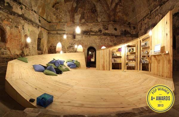 |CON|Temporary Library for the Urban Dreams Festival by Studio 8 1/2 | A Pop-Up Library In An Abandoned Turkish Bath