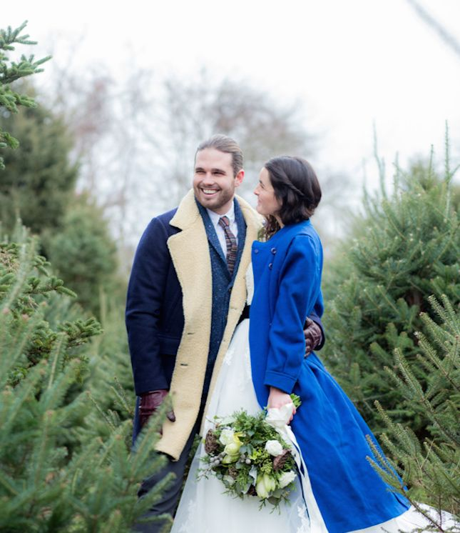 Don't shy away from a winter wedding—add a bright, warm coat.