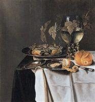 Pieter van Berendrecht (Dutch, 1616–1653) Title: Een stilleven met krab en een half geschilde citroen op tinnen borden, een broodje en een roemer, uitgestald op een tafel , 1639–1639  Oil on Panel