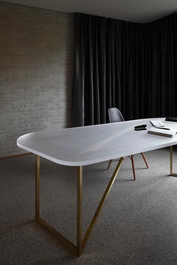 Pretty Conference Table, Whitewashed Brick Walls Law Office And Private  House In Buggenhout, Belgium By Low Architecten