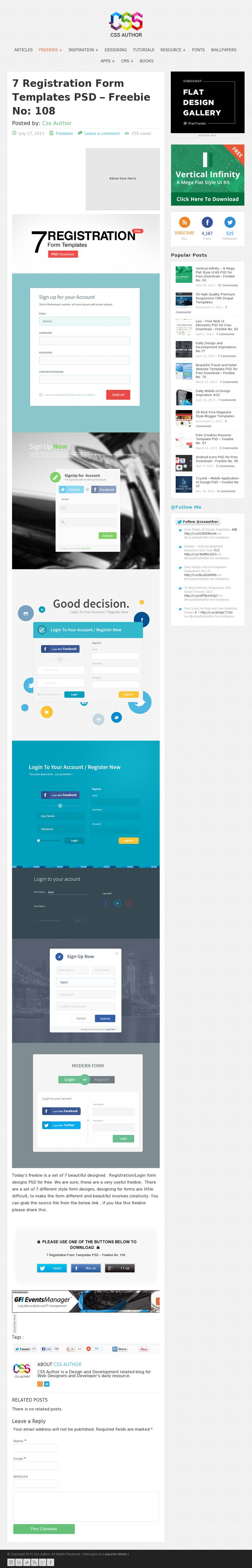 7 Registration Form Templates PSD – Freebie No: 108