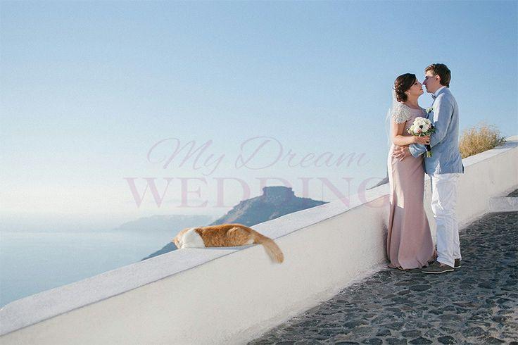 Santorini , Karolina and Roman with cat :)