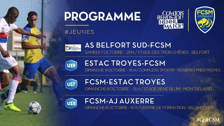 🦁FC Sochaux-Montbéliard🇫🇷  🦁FC SOCHAUX GREEK FANS🇬🇷 #GOFCSOCHAUX 💛💙 #PROGRAMME 📅 #JEUNES 🦁 🗓️🦁 Ce week-end, #National3 en Coupe, 2⃣confrontations face à ESTAC Troyes pour #U19 et #U17, #U15 face à AJ Auxerre ► http://www.fcsochaux.fr/fr/index.php/article/10444