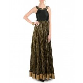 Designer light brown embellished halter neck maxi dress