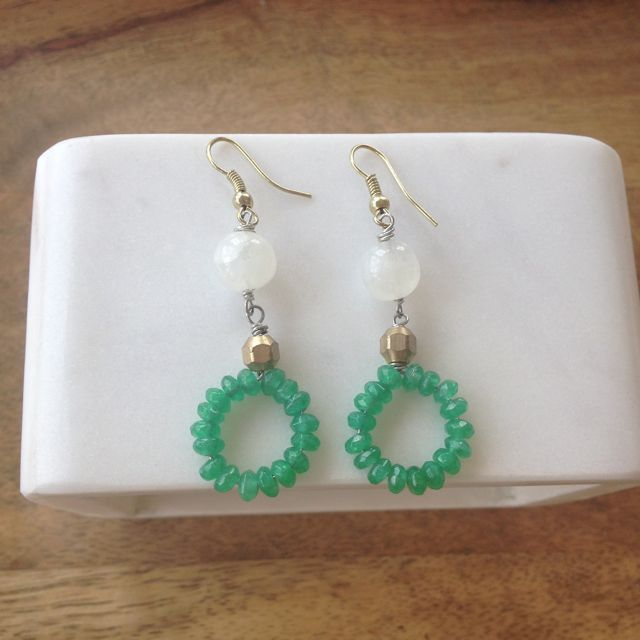 Moonstone Beaded Green Onyx Earrings- Laura James Jewelry – Laura James Jewelry