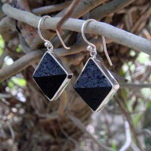 Handcut Genuine Raw Volcanic Lava Pyramid earrings available:   www.lava-links.com