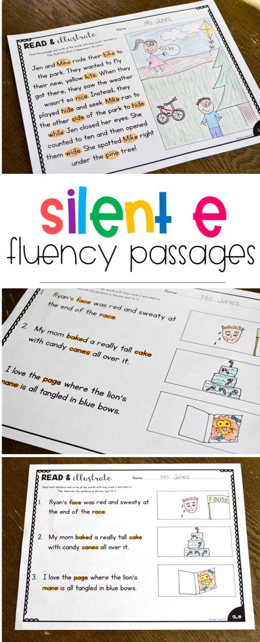 long vowel fluency passages, silent e activities, phonics activities