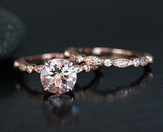 morganite wedding ring set in 14k rose gold with morganite round 8mm and diamond matching band - Hippie Wedding Rings