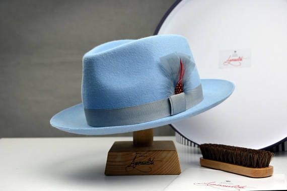 0c169b97f01e8 The Clubber - Light Blue Rabbit Fur Felt Fedora Hat - Medium Brim - Men  Women