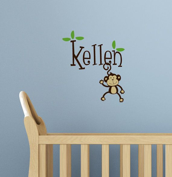 Personalized Monkey Name Wall Decal Kids by HouseHoldWords on Etsy, $25.00