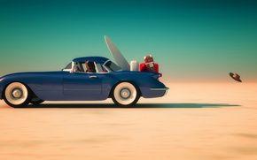 Обои синий, горизонт, небо, солнце, чемоданы, песок, автомобиль, пустыня, скорость, багаж, мяч, шляпа