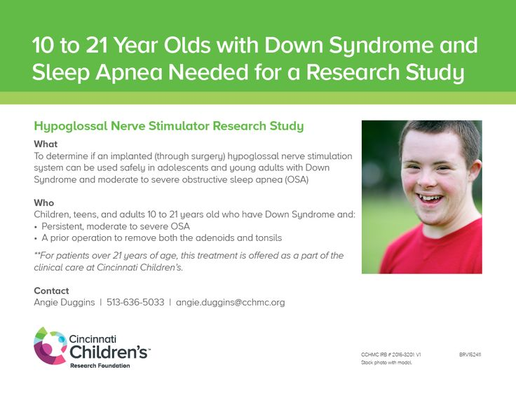 We want to determine if an implanted (through surgery) hypoglossal nerve stimulation system can be used safely in adolescents and young adults with Down Syndrome and moderate to severe obstructive sleep apnea (OSA).