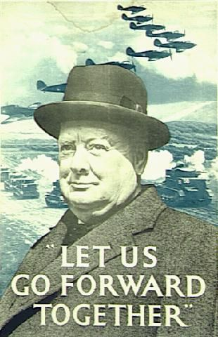 "Impact of WWII on BRITAIN.. shows Churchill, prime minister of the time, standing almost powerfully above the battles field typical of the second world war quoting - ""Let us go forward together"". This is an example of propaganda posters that were designed to keep morale up, mainly directed at those who fought rather than families back home, judging from the was scene behind. It tell us that in times of war morale could easily be shattered.By using a powerful figure of important///FEB16"