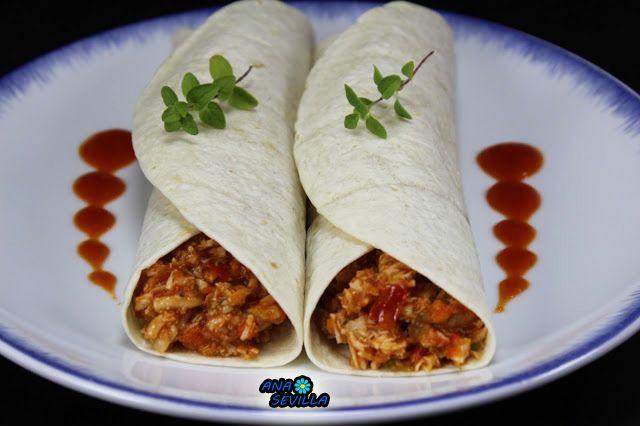 Tacos o tortitas de pollo y tomate Ana Sevilla con Thermomix.