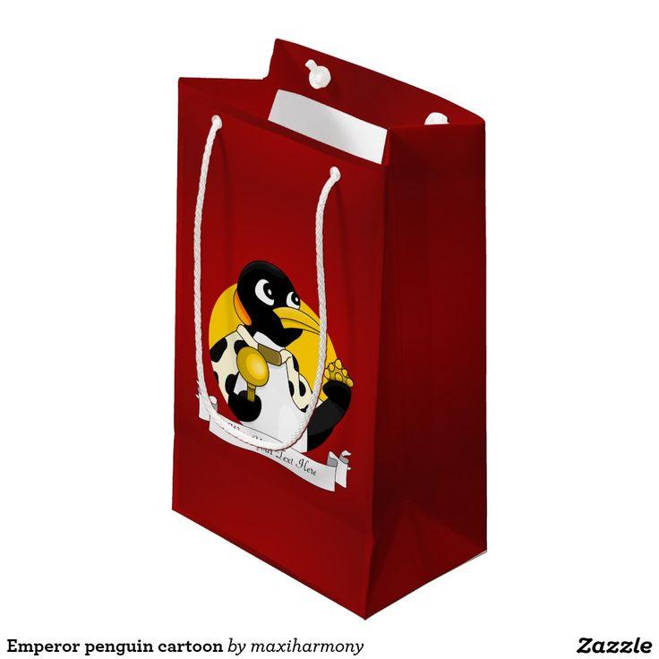 Emperor penguin cartoon small gift bag