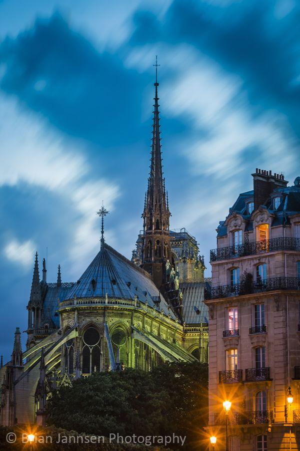 Cathedral Notre Dame and the buildings of Ile-de-la-Cite, Paris France. © Brian Jannsen Photography
