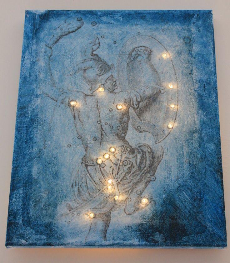 Quadro su tela ORIONE con luci che illuminano la costellazione
