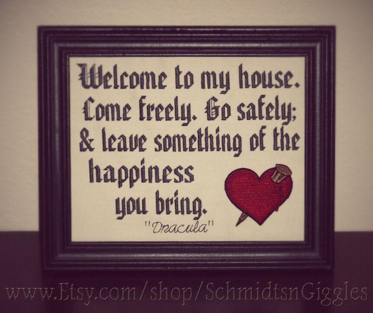 "Bram Stoker Dracula quote "" Transylvanian Hospitality "" 8×10″ stitched framed si…"