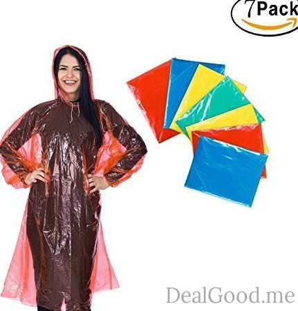 Premium Disposable Rain Poncho for adults (7 PACK) Best emergency disposable rain ponchos with drawstring hood and Elastic Sleeve.