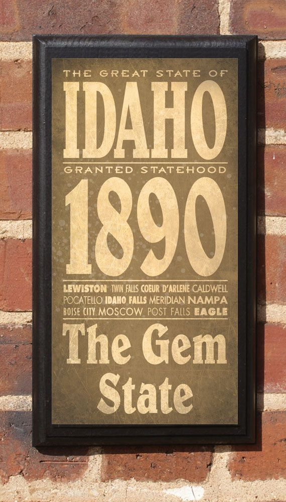 Idaho Id State Wall Art Sign Plaque Gift Present
