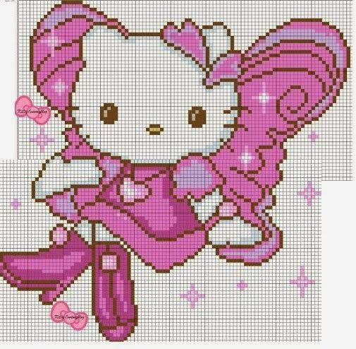 Hello Kitty met vleugels borduurpatronen