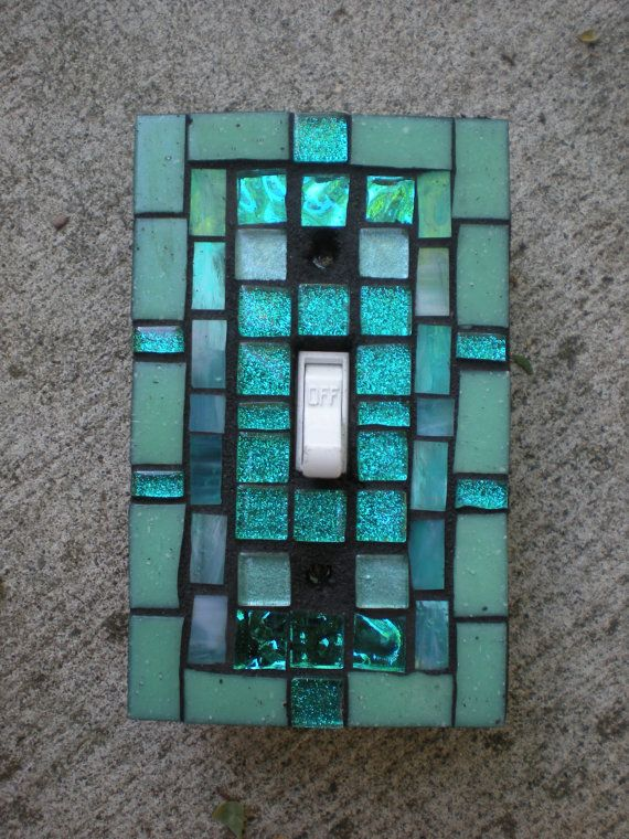 Aqua and Teal Mosaic Stained Glass Light Switch by MariposaMosaics