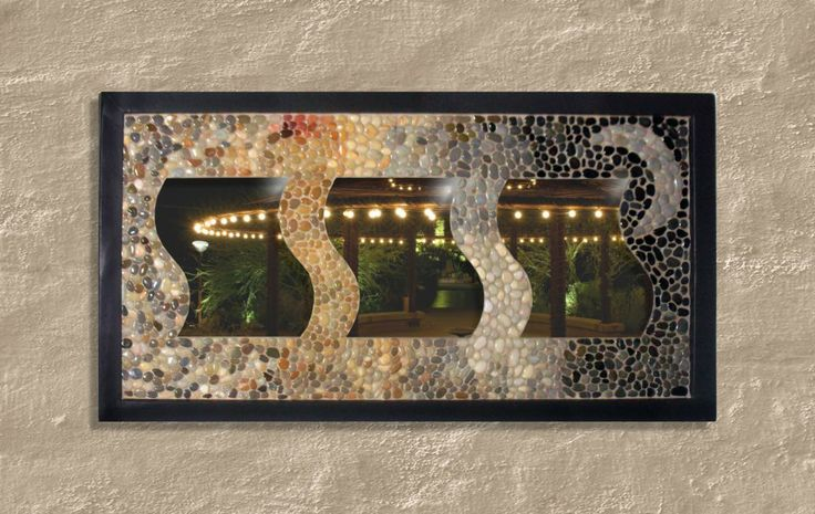 Aegean pebbles in a hangable mosaic frame: 77cm to 41cm.  Facebook  page: https://www.facebook.com/Votsalotos?ref=br_rs