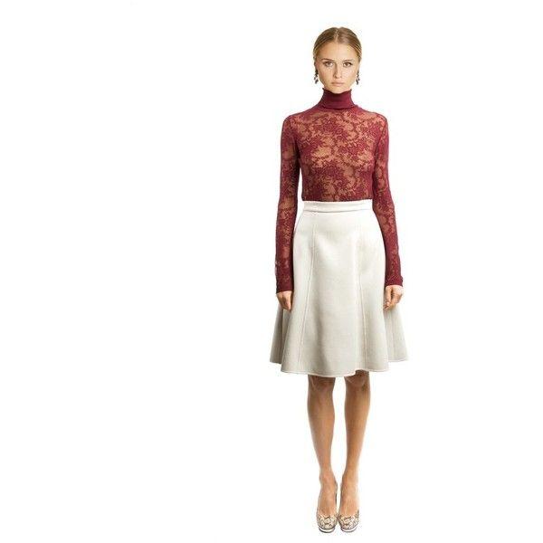 Oscar de la Renta Stretch-Cotton Lace Roll-Neck Knit (40.325 CZK) ❤ liked on Polyvore featuring tops, sweaters, bordeaux, knitwear, turtleneck, sleeveless sweater, white camisole, knit sweater, knit turtleneck sweater and turtleneck sweater